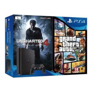 Consola PlayStation 4 1TB con 2 juegos Grand Theft Auto V y Uncharted 4