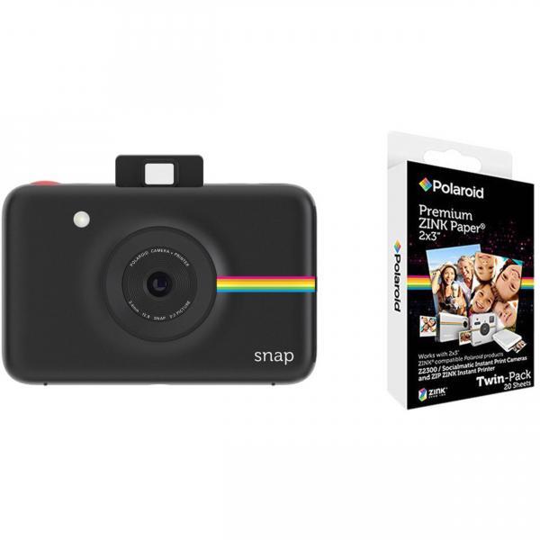 997ea99277b54 ... Cámara instantánea Polaroid Snap Negra + 20 fotos ...