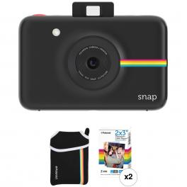 Kit de cámara Polaroid Snap Negra + 20 hojas + Funda