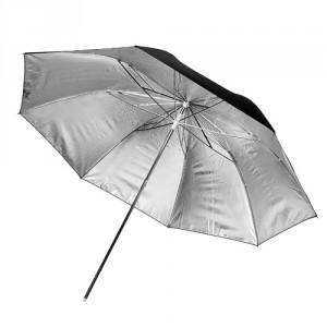 Paraguas negro y plata 43 cm