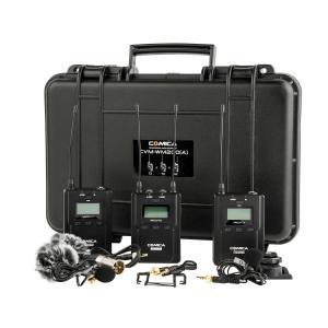 Comica CVM-WM200A Kit De Micrófono Dual De Rango De 120 M (Batería AA) (2 Lav, 2 TX, 1 RX)