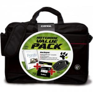 Maletín Catkil Notebook Value Pack con Ratón con cable, USB 16GB, y Panda antivirus (12 meses)