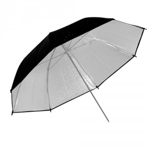 Paraguas reflector negro y plata 91 cm