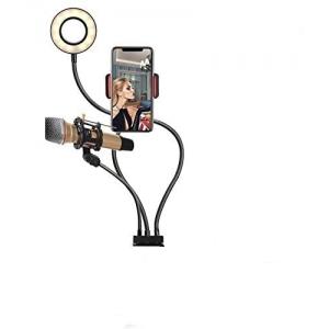 """Ultrapix Soporte Flexible de movil y Microfono Con Anilla De Luz 3.5"""" 9cm UPFK-AL06II"""