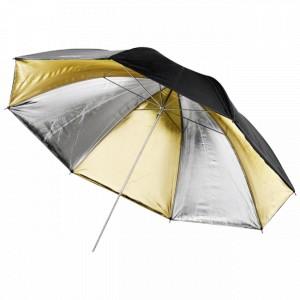 Paraguas negro, dorado y plata de 91 cm